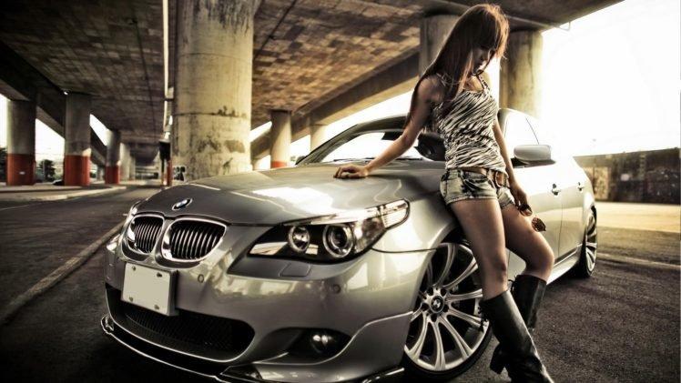 women with cars, Animal print, Jean shorts, Asian, Bangs, Parking lot, BMW HD Wallpaper Desktop Background