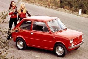 women, Blonde, Car, Vintage, 1980s, Red cars, Women outdoors, FIAT, Brunette, Long hair, Model, Camera, Smiling, Commercial, Road, Fiat 126p, Polish, Poland