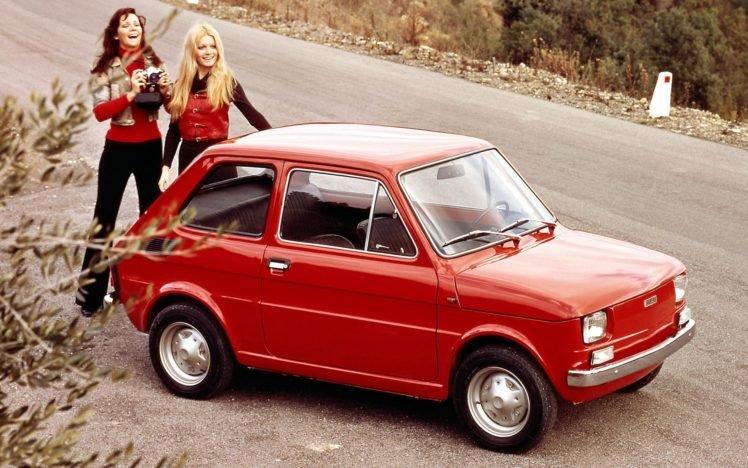 women, Blonde, Car, Vintage, 1980s, Red cars, Women outdoors, FIAT, Brunette, Long hair, Model, Camera, Smiling, Commercial, Road, Fiat 126p, Polish, Poland HD Wallpaper Desktop Background