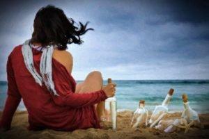 back, Women, Beach, Bottles, Sand, Vignette
