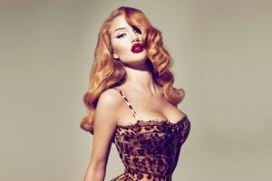 redhead, Vintage, Rosie Huntington Whiteley, Animal print
