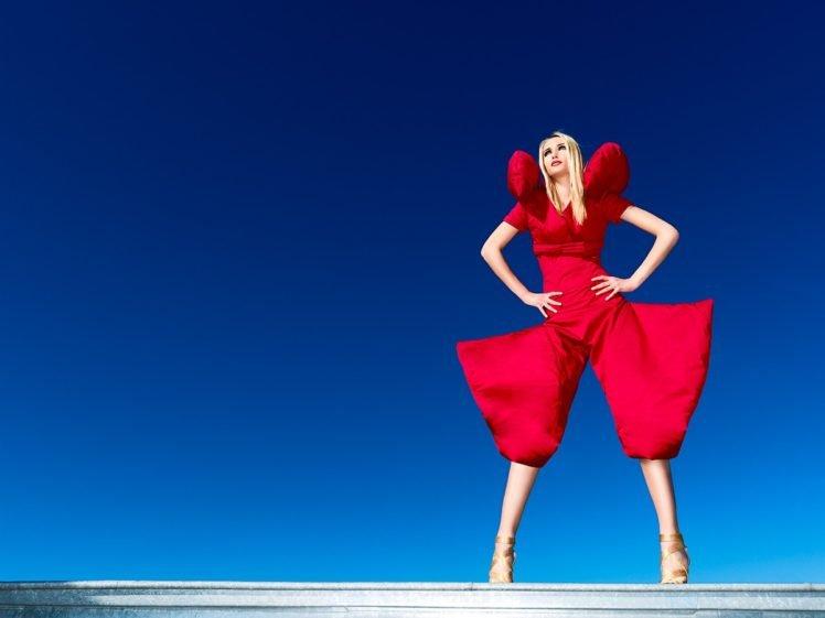 fashion, Sky, Model, Blonde, Hands on hips, Women HD Wallpaper Desktop Background