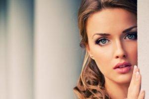 women, Model, Face, Brunette, Blue eyes