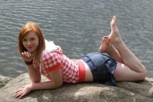 redhead, Denim skirt, Feet, Barefoot, Pale