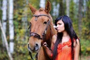 women outdoors, Brunette, Horse