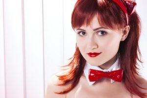 redhead, Women, Face, Blue eyes