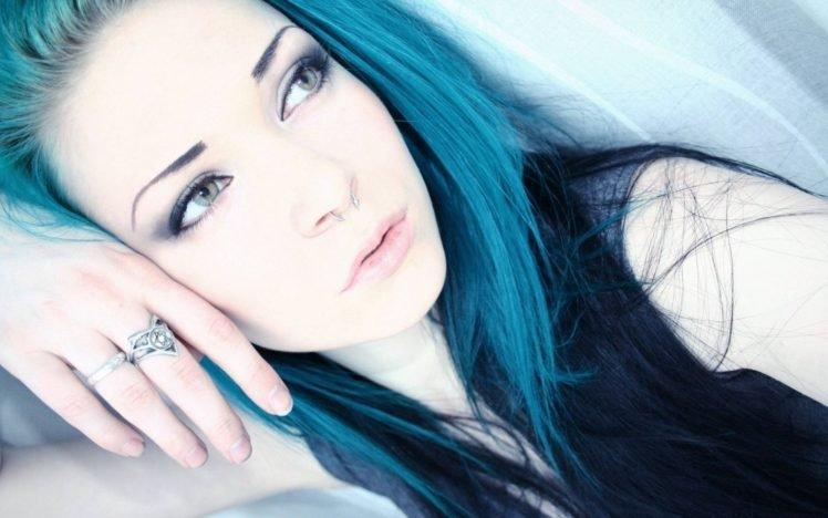 blue hair, Women, Rings, Face, Brunette, Green eyes, Piercing HD Wallpaper Desktop Background