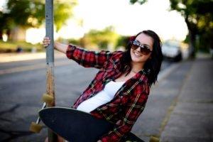 women outdoors, Brunette