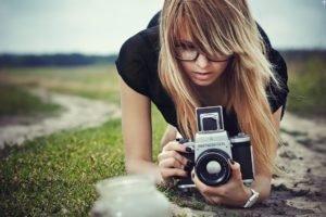 women, Blonde, Camera