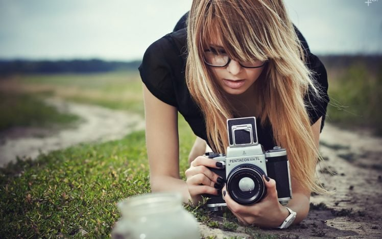 women, Blonde, Camera HD Wallpaper Desktop Background
