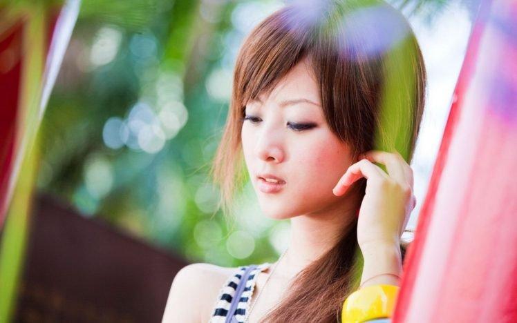 women, Model, Brunette, Long hair, Asian, Face, Open mouth, Looking down, Bokeh, Hand, Mikako Zhang Kaijie HD Wallpaper Desktop Background