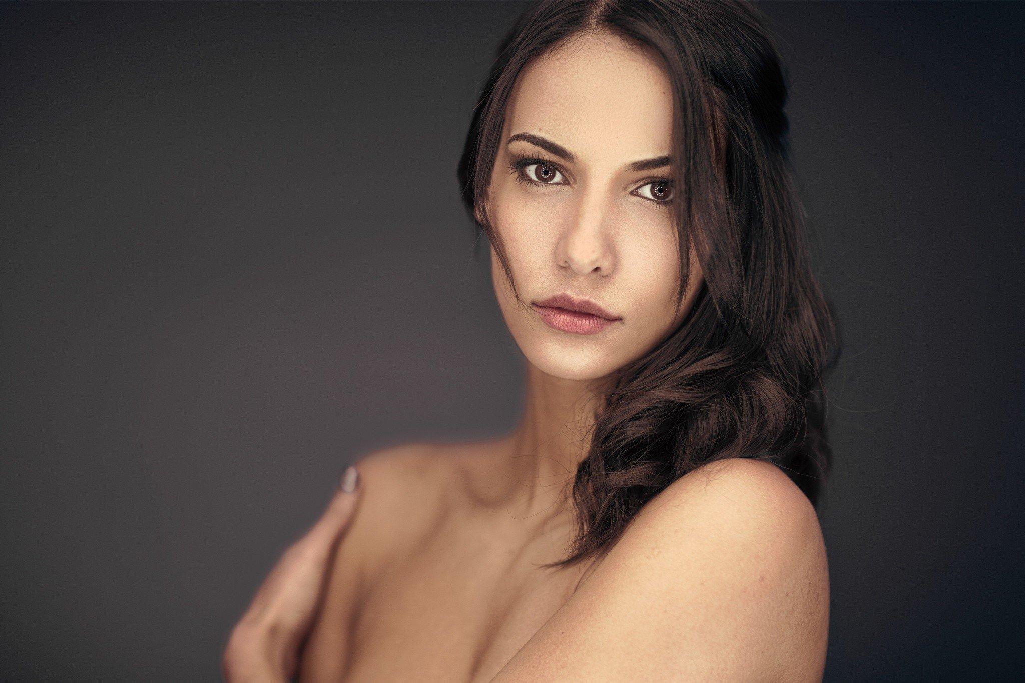 Women, Model, Brunette, Brown Eyes, Bare Shoulders -6288