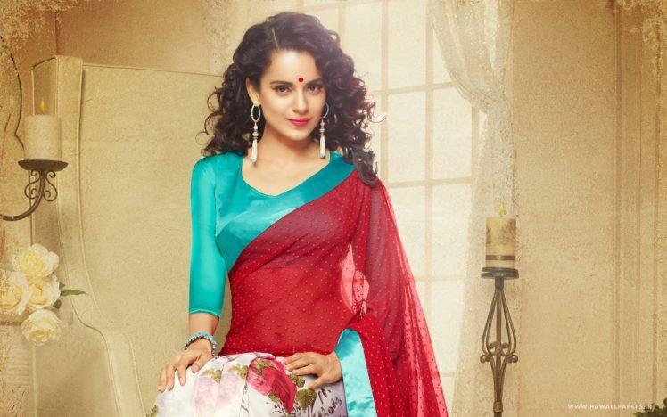 women, Saree, Bindi, Kangna Ranaut, Celebrity HD Wallpaper Desktop Background