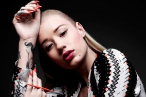 women, Model, Blonde, Brown eyes, Tattoo, Red lipstick, Iggy Azalea