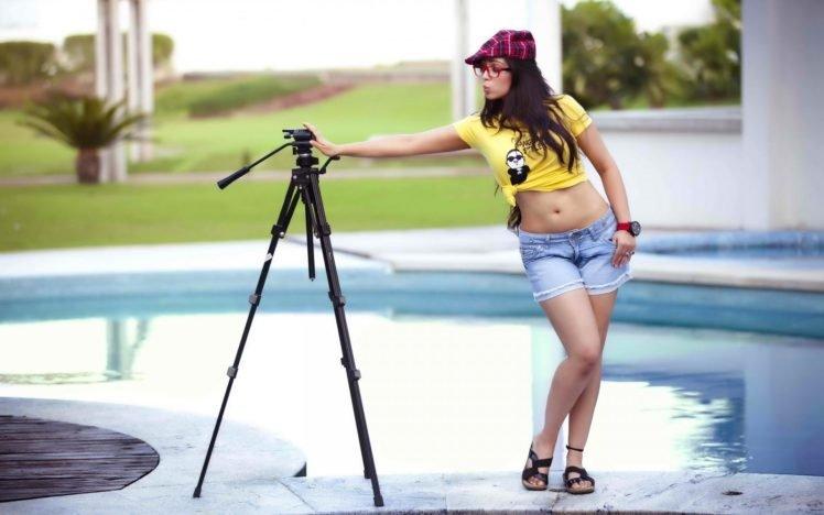 women, Charmy Kaur, Belly, Legs, Shorts, Jean shorts, T shirt, Psy, Swimming pool, Glasses, Women with glasses HD Wallpaper Desktop Background