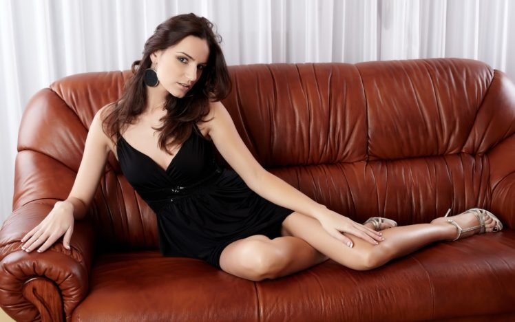 women, Dress, Black dress, Brunette, Legs, High heels HD Wallpaper Desktop Background
