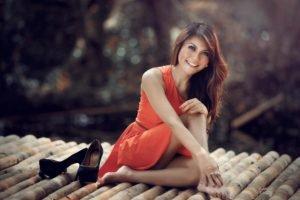 women, Model, Redhead, Red dress, High heels, Smiling, Feet