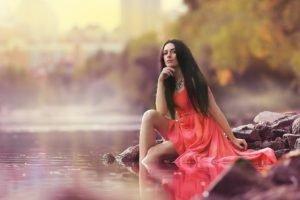women, Model, Brunette, Red dress, Depth of field, River, Dress, Long hair, Women outdoors
