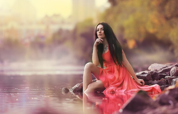women, Model, Brunette, Red dress, Depth of field, River, Dress, Long hair, Women outdoors HD Wallpaper Desktop Background