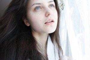 women, Brunette, Blue eyes