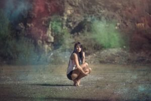 women, Model, Brunette, Barefoot, Colorful, Women outdoors
