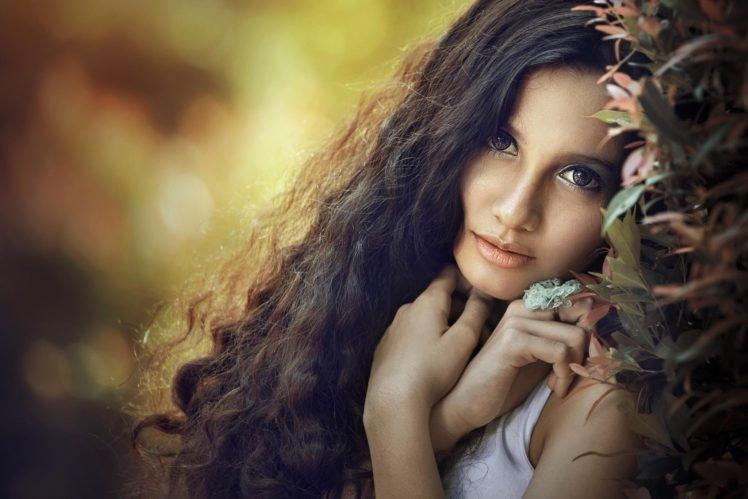 women, Model, Brunette, Depth of field, Curly hair, Looking at viewer, Contact lenses HD Wallpaper Desktop Background