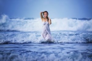 women, Sea, Waves, Wet, Dress, Women outdoors, Nature, Water