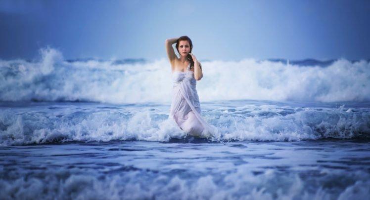 Women Sea Waves Wet Dress Women Outdoors Nature Water