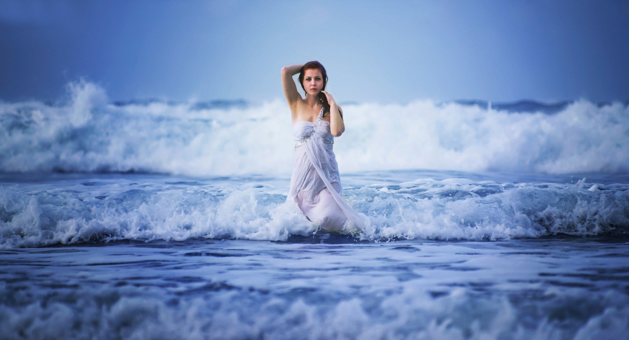 women, sea, waves, wet, dress, women outdoors, nature, water hd