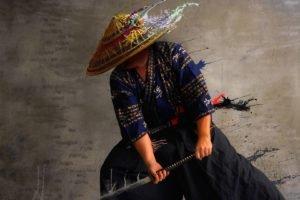 Japanese, Samurai, Katana, Artwork, Photo manipulation, Men, Japanese clothes, Paint splatter