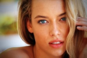 women, Blonde, Blue eyes, Face, Hannah Ferguson