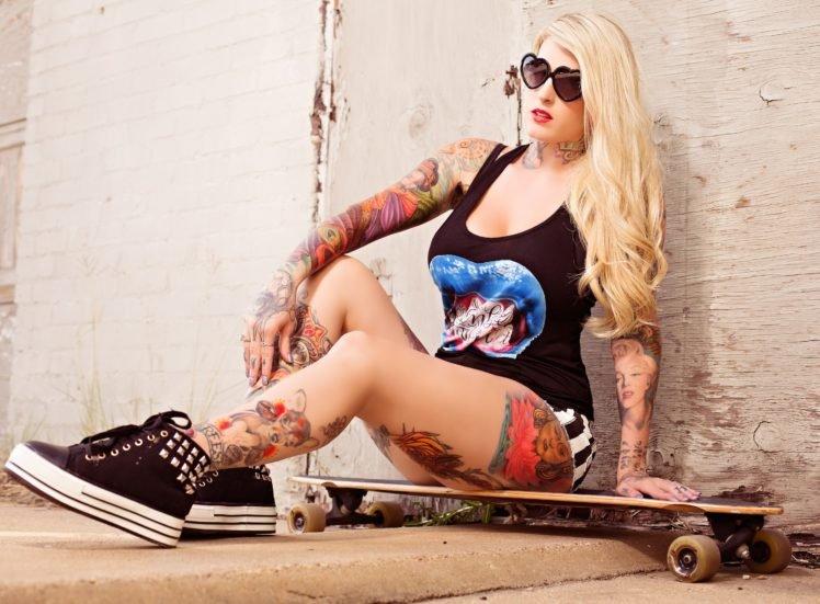 women, Blonde, Tattoo, Sunglasses, Long hair, Skateboard, Legs, Shorts, Tank top HD Wallpaper Desktop Background