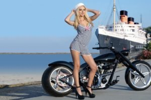 women, Model, Blonde, Long hair, Smiling, Women outdoors, Sailors, Striped clothing, High heels, Chopper, Cruise ship, Sea, Road, Horizon, Custom