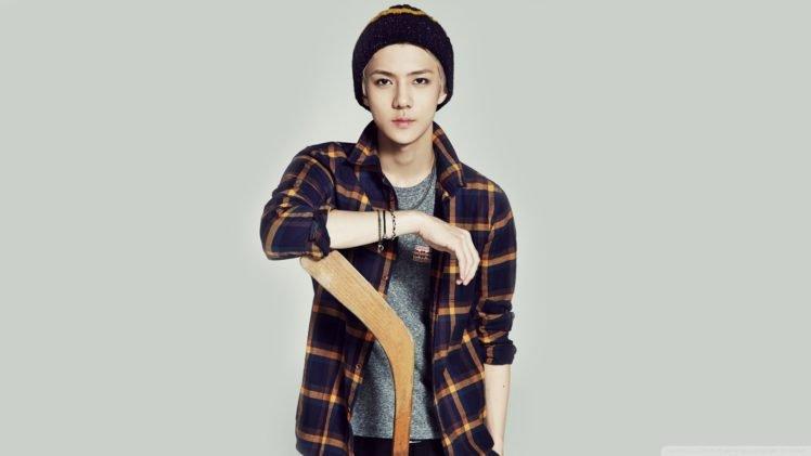 K Pop Sehun Exo Plaid Simple Background Woolly Hat Men
