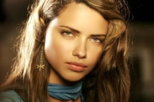 Adriana Lima, Women, Model, Brunette, Face, Airbrushed, Green eyes