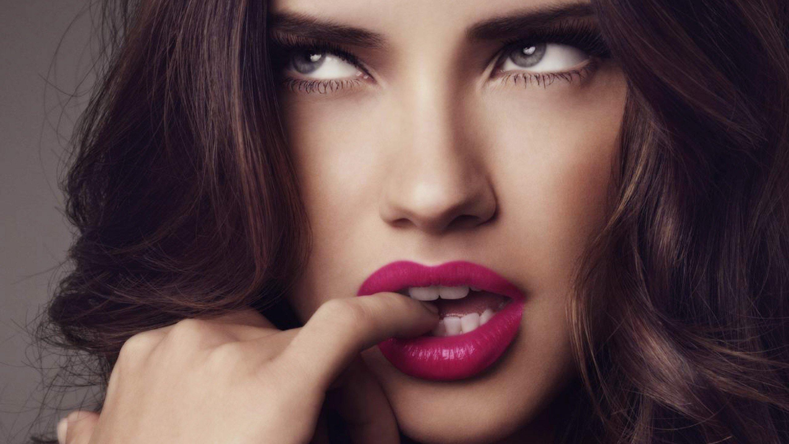 Adriana Lima, Women, Model, Brunette, Blue eyes, Sensual gaze Wallpaper