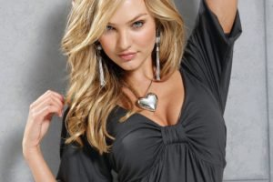 women, Candice Swanepoel, Model, Blonde, Blue eyes, Cleavage, Earrings, Necklace