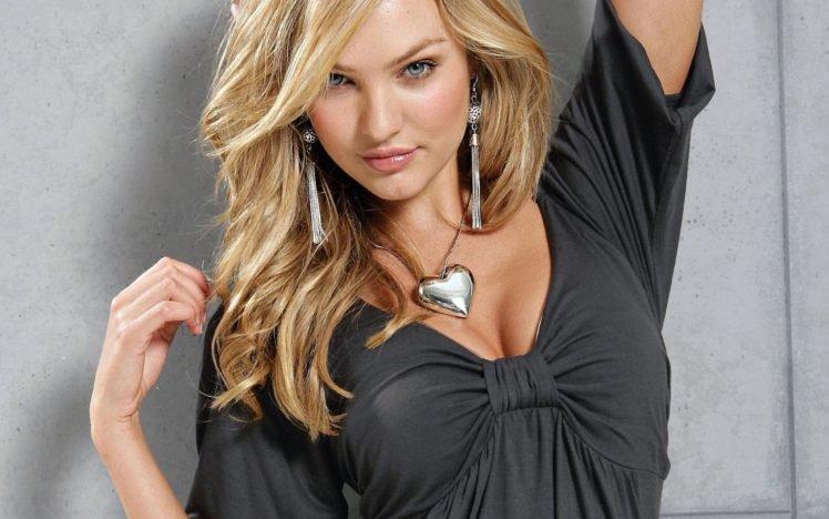 women, Candice Swanepoel, Model, Blonde, Blue eyes, Cleavage, Earrings, Necklace HD Wallpaper Desktop Background