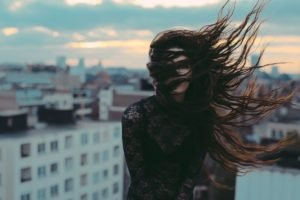 women, Brunette, Wind, Hair in face, See through clothing, Long hair, Women outdoors, City, Depth of field