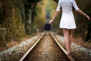 women, Railway, Barefoot, Women outdoors, Dress, White dress, Depth of field