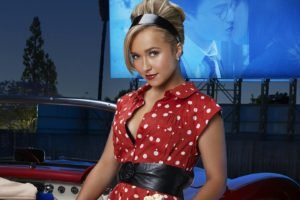 polka dots, Hayden Panettiere, Looking at viewer, Smiling, Red lipstick