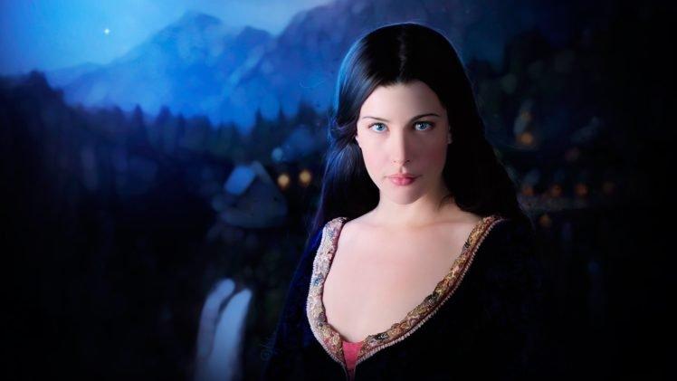Arwen, Liv Tyler, Women, Blue eyes, The Lord of the Rings, Face, Elves, Dress HD Wallpaper Desktop Background