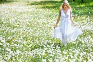 women, Long hair, Blonde, Model, Women outdoors, Field, White dress, Flowers, Dandelion, Looking down