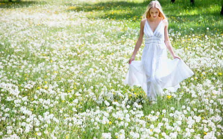 women, Long hair, Blonde, Model, Women outdoors, Field, White dress, Flowers, Dandelion, Looking down HD Wallpaper Desktop Background