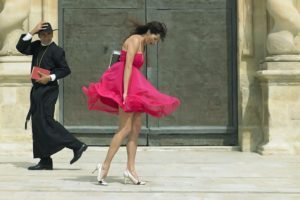 priest, Women outdoors, Pink dress, Windy