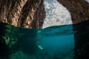 nature, Rock, Divers, Sea, Water, Underwater, Split view