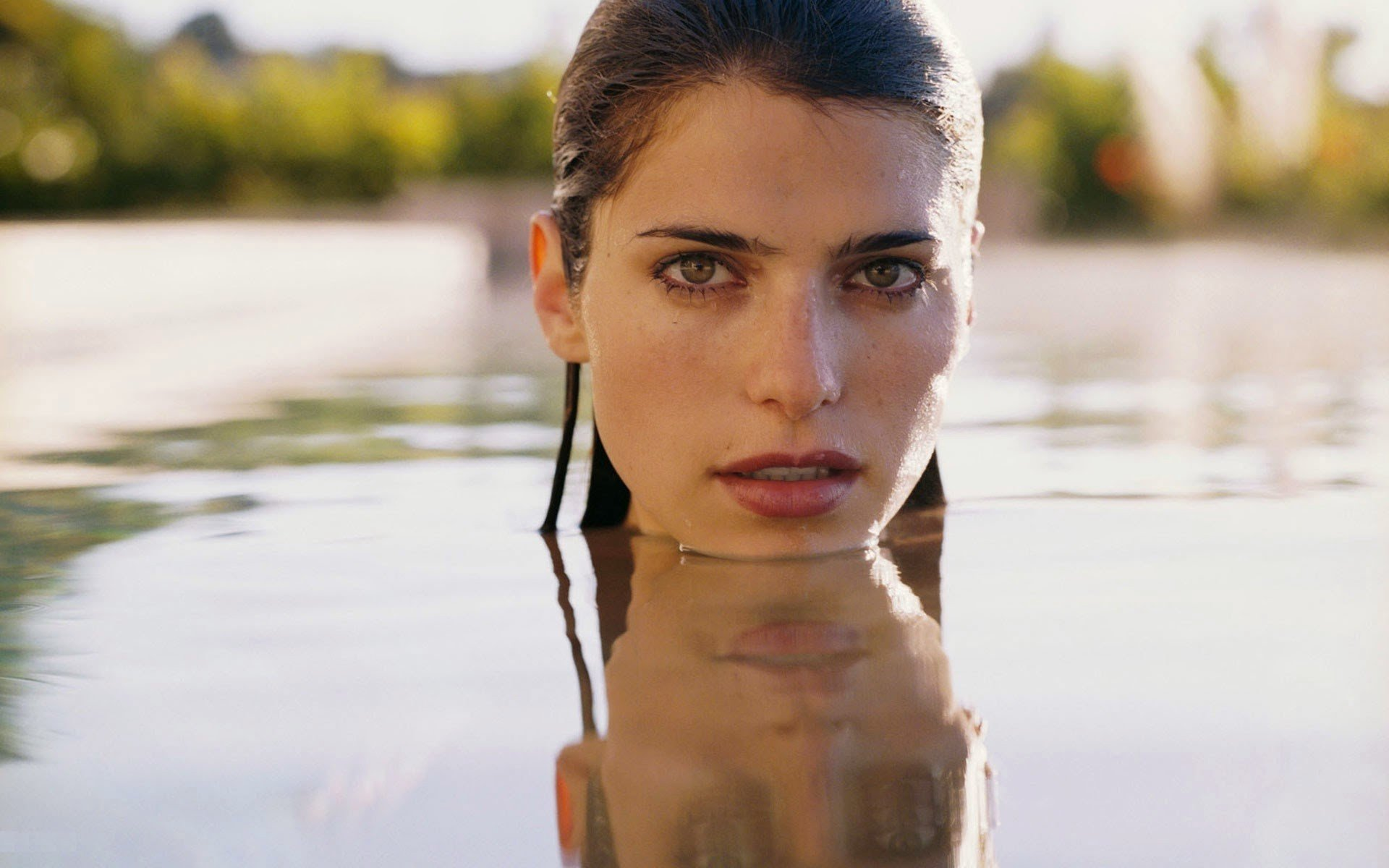 lake bell, women, brunette, face, wet, wet hair hd wallpapers