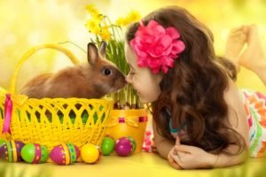 children, Baskets, Eggs, Flower in hair, Barefoot, Rabbits, Daffodils, Easter