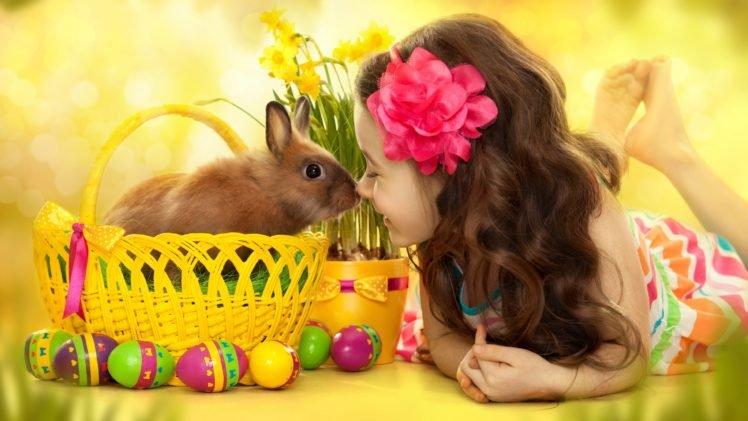 children, Baskets, Eggs, Flower in hair, Barefoot, Rabbits, Daffodils, Easter HD Wallpaper Desktop Background