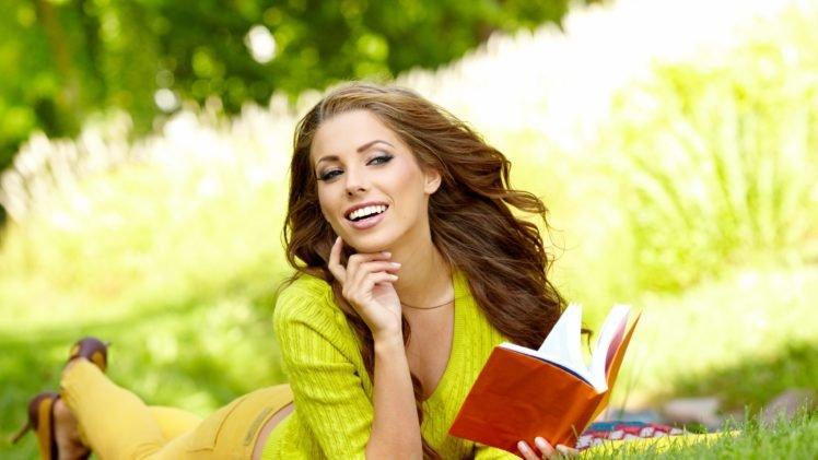 women, Smiling, Books, Brunette, Lying on front HD Wallpaper Desktop Background